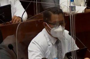 Arquesio Arias reapareció este jueves en la Asamblea Nacional. Foto: Cortesía Asamblea TV