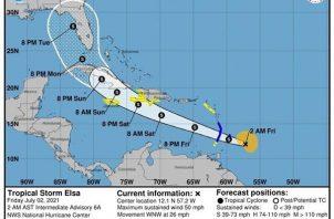 Imagen cedida este viernes por el Centro Nacional de Huracanes (NHC) de EE.UU. en el que se grafica la trayectoria de cinco días de la tormenta tropical Elsa por el Caribe hacia Estados Unidos. Foto: EFE