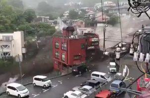 Devastador deslizamiento de tierra, a causa de lluvias torrenciales en Atami, Japón.
