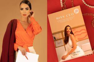 Sheldry Sáez y la portada de su libro 'Miss Ceo'. Fotos: @sheldrysaez