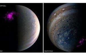 Imágenes de los polos de Júpiter procedentes del satélite Juno de la NASA y del telescopio de rayos X Chandra de la NASA. Imagen: NASA Chandra/Juno Wolk/Dunn