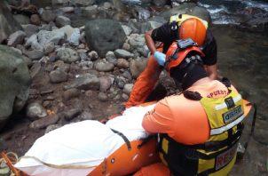 El cuerpo del ciudadano fue ubicado el pasado 4 de febrero en el río Escarrea en el corregimiento de La Estrella. Foto. José Vásquez