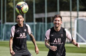 Di María y Messi en los entrenamientos del PSG. Foto: @@PSG_English
