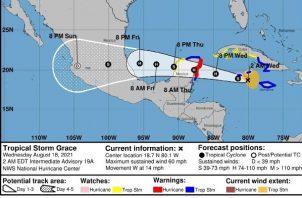 Grace azota a las islas Caimán. Foto: EFE