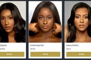 Las 10 candidatas con más votaciones pasarán directamente al Top 20 del certamen. Foto: Web / Señorita Panamá