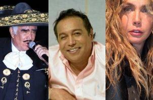 Vicente Fernández, Diomedes Díaz y Sabine Moussier. Foto. Archivo / Instagram