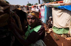 Una mujer asegura una lona sobre unos palos, a modo de vivienda, en un campamento que formaron víctimas del terremoto en Haití. EFE
