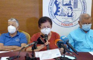 Los dirigentes de la central obrera anunciaron la iniciativa que entregarán, en conferencia de prensa. Víctor Arosemena