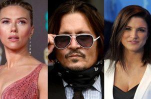 Scarlett Johansson, Johnny Depp y Gina Carano. Foto: Archivo / EFE