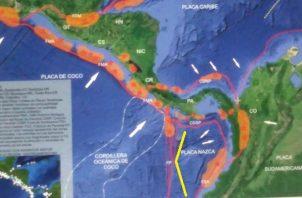 La Zona de Fractura de Panamá (FP) se introduce en tierra firme siguiendo el eje de la península de Burica. Foto: Cortesía Instituto de Geociencias