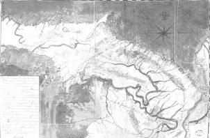 Mapa de la provincia de Darién, confeccionado en 1778. Tomado del libro Panamá. Tierra, gente, legado.. Centenario. Aproximación a las raíces del hombre panameño. Vladimir Berrío-Lemm.