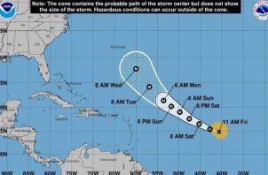 Larry continuará fortaleciéndose en los próximos días y devendrá en un huracán de categoría mayor. Foto: EFE