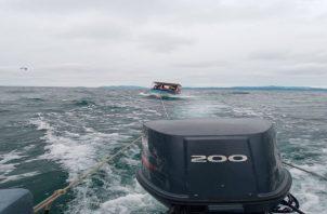 Las autoridades detallaron que la embarcación y sus tripulantes fueron llevados a un puerto seguro de la Autoridad Marítima de Panamá (AMP) en Isla Taboga. Foto: Cortesía Senan