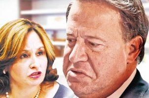 El expresidente Juan Carlos Varela y la exprocuradora Kenia Porcell.