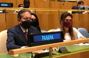 El presidente de la República, Laurentino Cortizo, y la canciller Erika Mouynes en la apertura del septuagésimo período de sesiones ordinarias de la Asamblea General de la ONU. Foto: Cortesía Presidencia