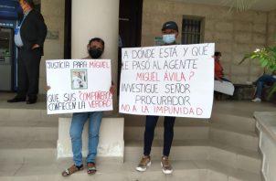 Familiares de Miguel Ávila protestaron en la Corte Suprema de Justicia. Foto: Cortesía