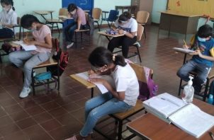 La Escuela Presidente Porras de Las Tablas, inició esta semana el proceso de retorno seguro a clases semipresenciales. Foto: Meduca