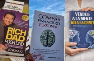 'Padre rico padre pobre', 'Compás financiero personal' y 'Véndele a la mente, no a la gente'. Fotos: @therealkiyosaki / @compasfinanciero / @jurgenklaric