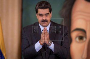 Nicolás Maduro habló hoy en un acto transmitido por el canal estatal Venezolana de Televisión (VTV). Foto: EFE
