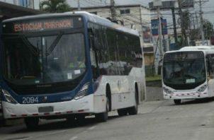 Estos son los dos modelos de metrobuses que operan en el área metropolitana. Los buses azules se incorporaron al sistema en 2017. Archivo