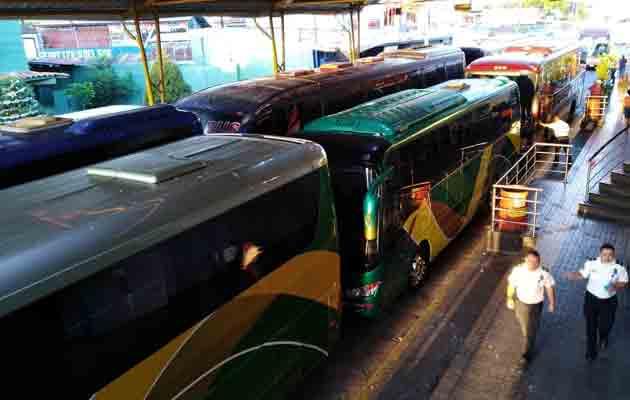 Se estima que unos 10 buses llegaron a Paso Canoas. Foto/José Vásquez